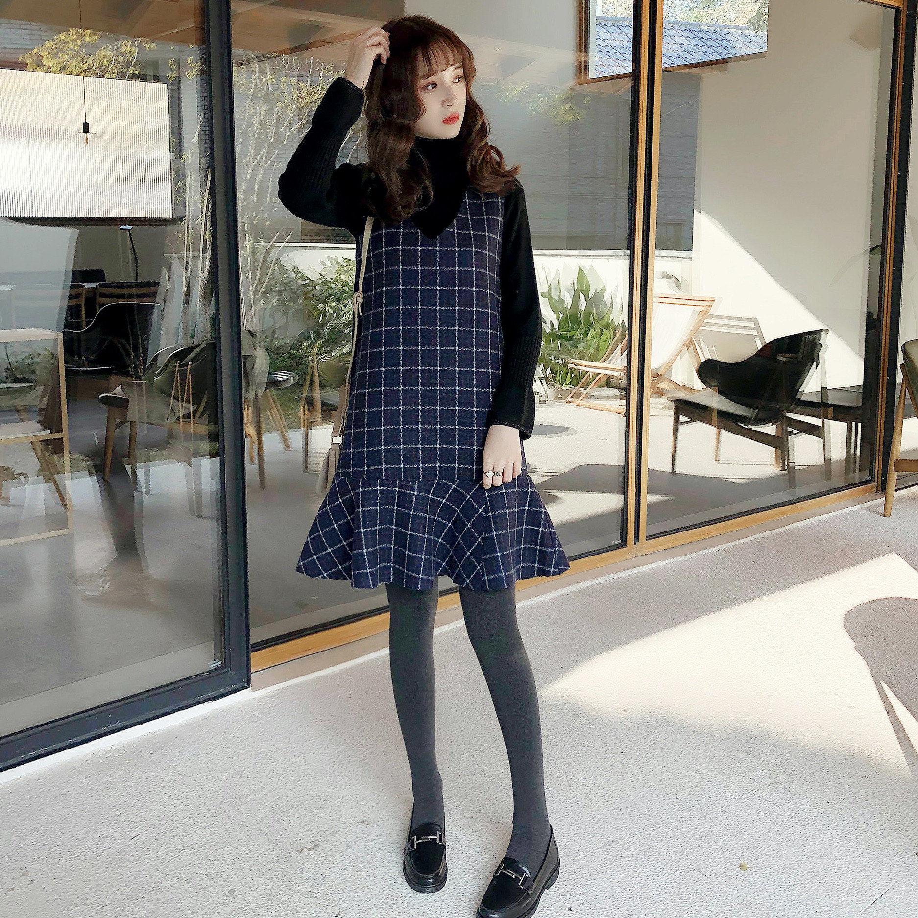 A5537-2017秋冬新款女装韩版V领复古格子气质无袖毛呢连衣裙 1212