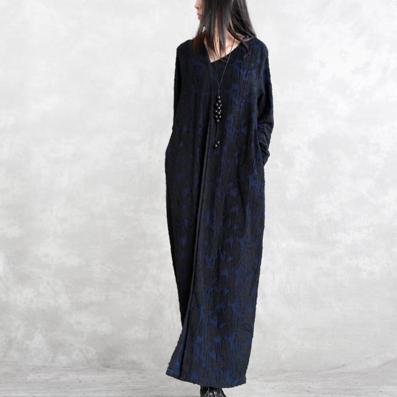 兮风长袖V领提花茧型连衣裙不规则中长打底裙