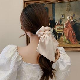 低马尾发带缎带日系头绳女粗发圈复古法式蝴蝶结网红发饰飘带发绳