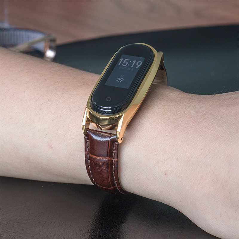 米布斯 适用小米手环3/4代真皮腕带GT竹节牛皮复仇者联盟NFC表带