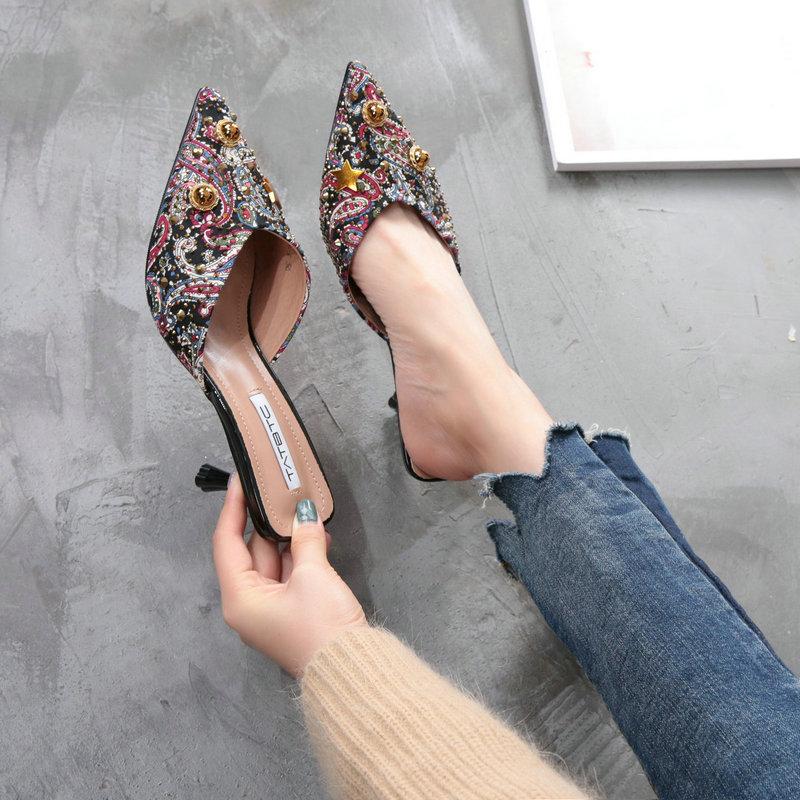 春夏新款细跟高跟鞋尖头半拖烫钻单鞋包头中跟一字凉拖鞋女外穿
