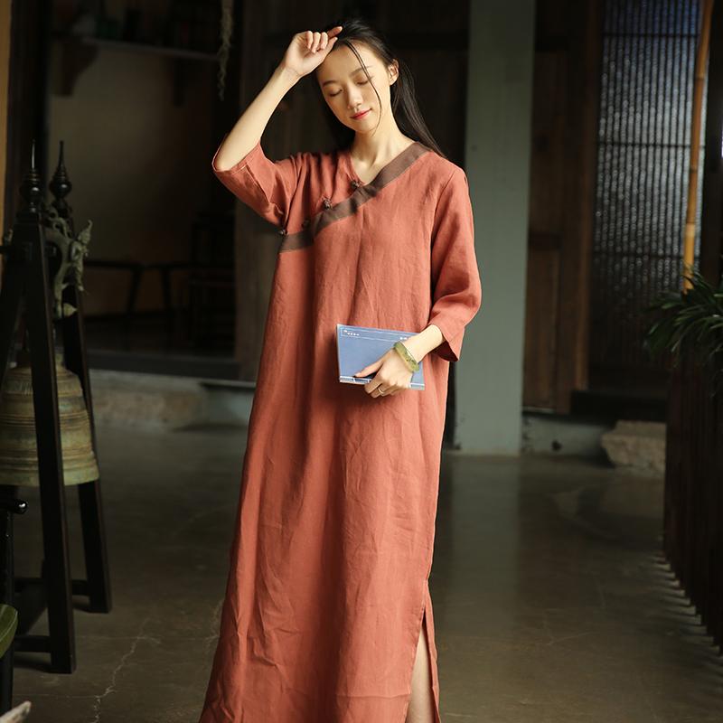 女唐装改良汉服复古民国风长裙中国风夏装禅意茶服中式亚麻连衣裙