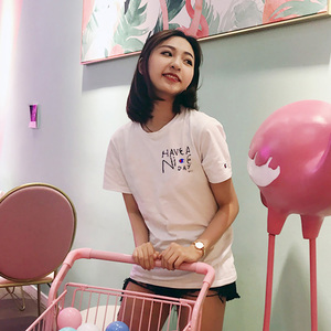 Champion off-white joint short-sleeved Japanese version of the small c cursive lettering printed men and women loose rou
