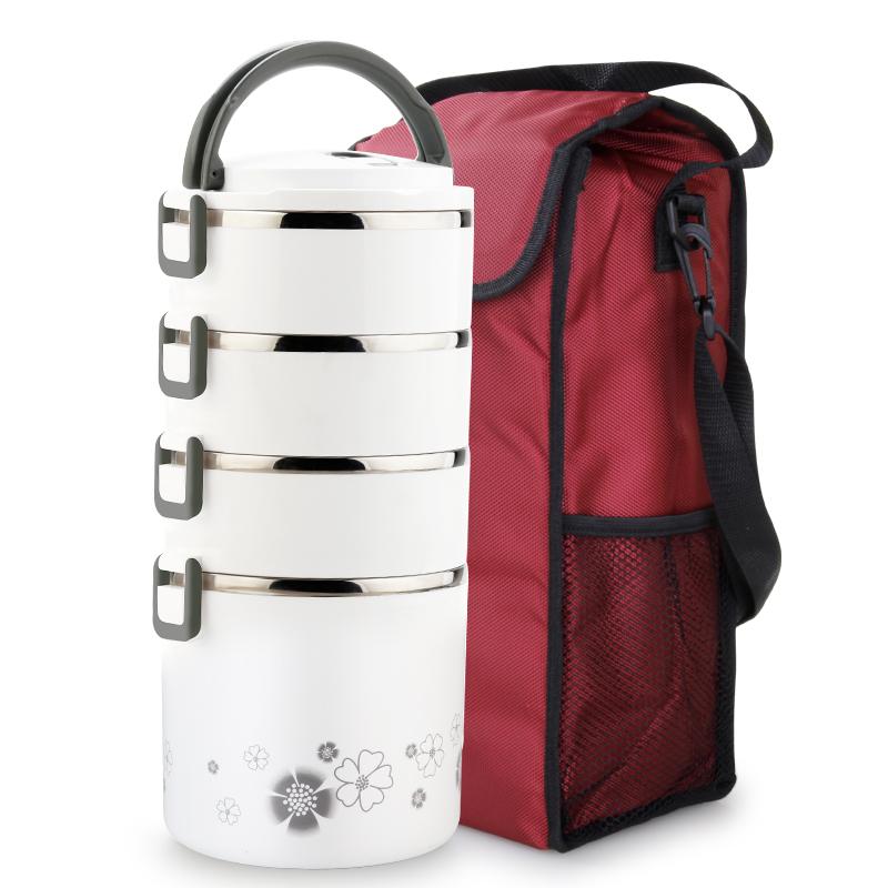 不锈钢多层保温饭盒大容量4层5手提便携分格学生超长保温桶送饭桶
