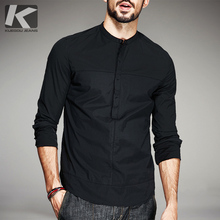 男士长袖衬衫韩款修身青年立领帅气薄yn14个性潮xg衬衣秋季