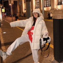 轻薄羽绒服女冬中长式20pg91年新式mf加厚亮面白鸭绒棉服外套