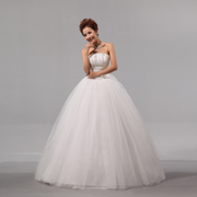 Wedding dresses wedding dress with purple new 2015 Korean bride wedding sweet wedding dress out of alignment with yarn-