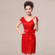 2015 new toast clothing party short dresses wedding dresses Korean fashion red lace thin women-