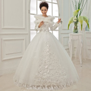 2015 Korean lace winter winter winter cotton long sleeve Princess Bride wedding dress new look slimmer