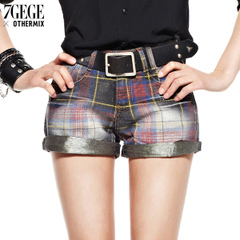 Seven space space OTHERMIX Street wave slim straight leg Plaid shorts women