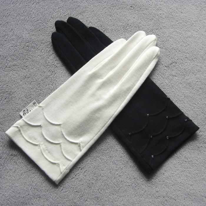 克拉斯卡 纯棉短款女士防晒吸汗透气舒适开车掌心颗粒手套