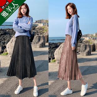 金丝绒半身裙_冬季连衣裙、中长款、配毛衣、百褶长裙