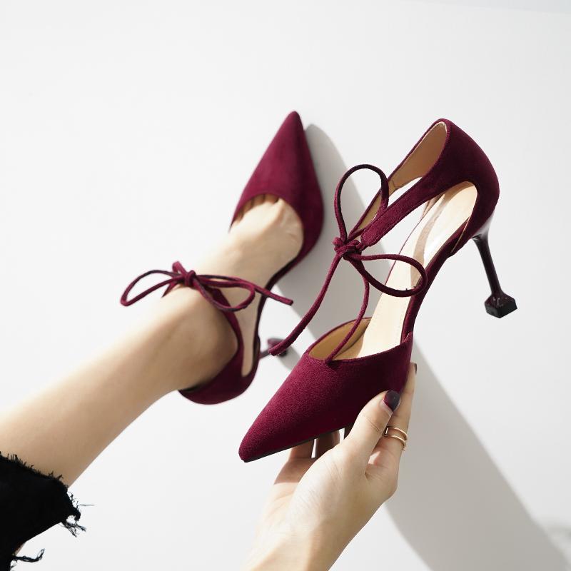 酒红色绑带高跟鞋细跟韩版尖头单鞋性感百搭猫跟鞋仙女风32小码33