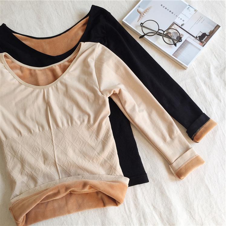 秋冬女装韩版修身百搭圆领加绒加厚打底衫长袖保暖内衣T恤上衣潮