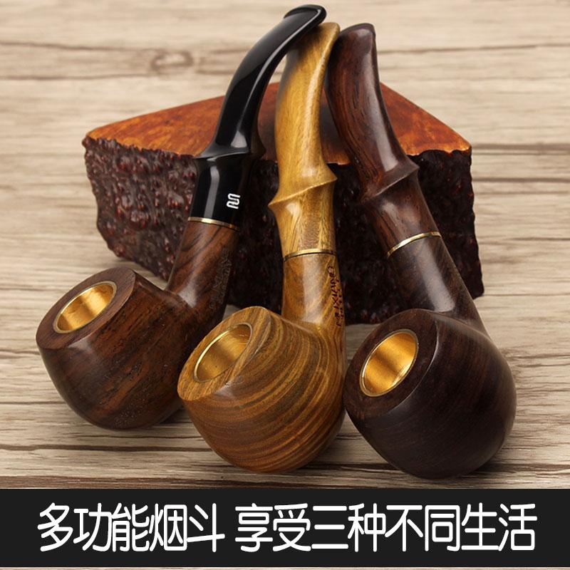 一斗三用男士实木烟斗老式手工旱斗烟锅用烟丝烟袋锅个性纯铜过滤