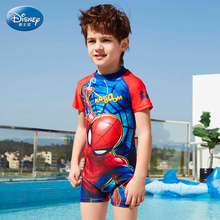 Children's swimsuit boy conjoined split sunbathing suit, big boy swimming pants, cartoon spider man swimsuit.