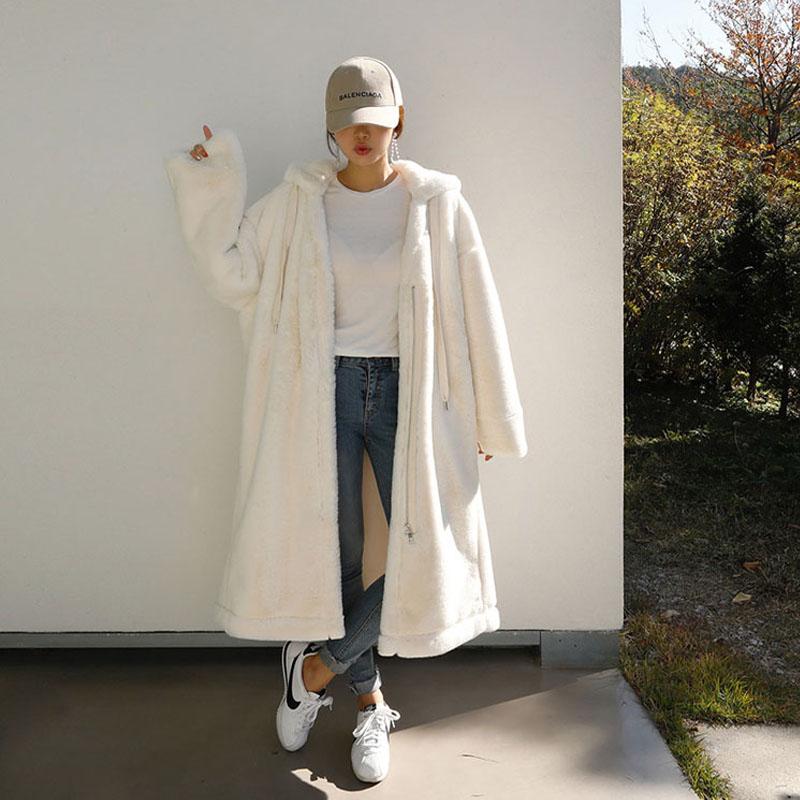 秋冬季韩版加厚仿獭兔毛大码皮草外套女中长款过膝bf风大衣宽松