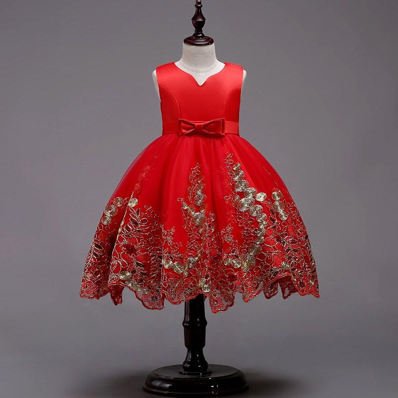 女童钢琴演出服比赛小主持人大红礼服裙12岁小女孩生日短款公主裙