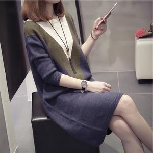 胖mm大码女装显瘦遮肚针织连衣裙女秋冬季中长款打底衫200斤毛衣