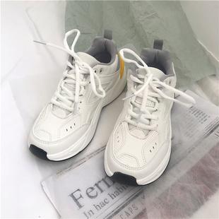 2020春新款韩版ulzzang白色运动鞋女学生百搭街拍厚底老爹鞋ins潮图片