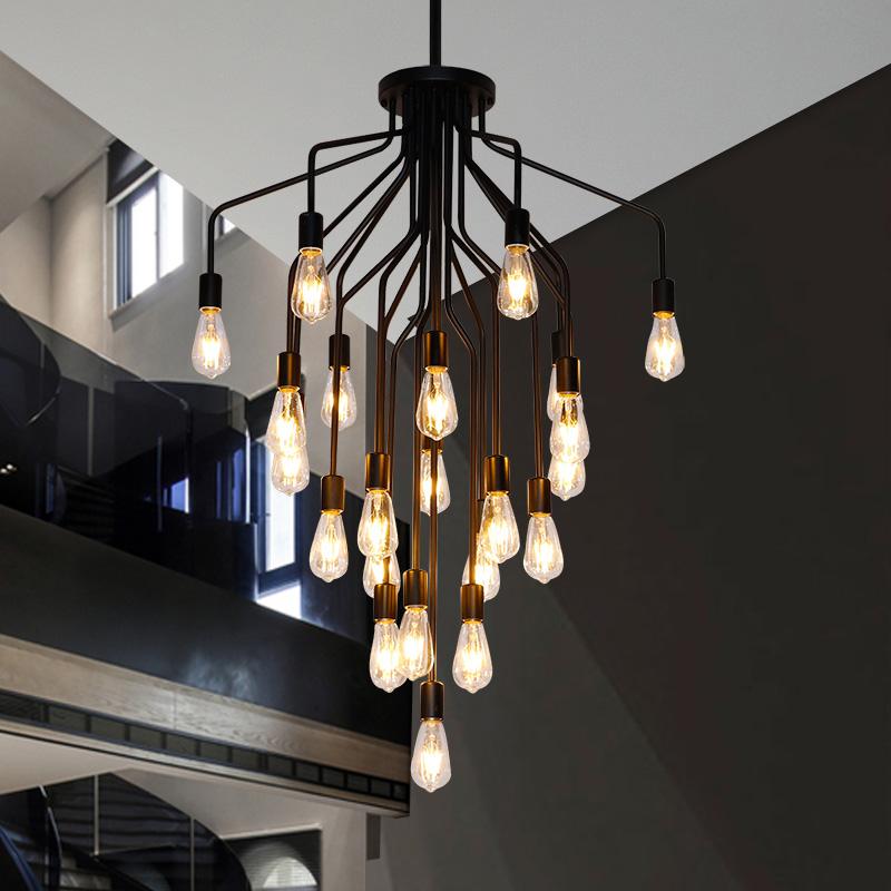 楼梯灯长吊灯美式复式楼客厅大灯别墅楼中楼创意个性简约复古吊灯-艺屋灯饰直销店