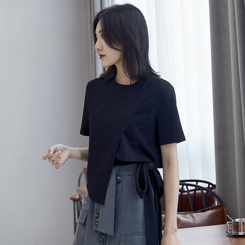 不规则t恤女短袖宽松2019款夏韩版时尚绑带超火cec露腰个性上衣潮