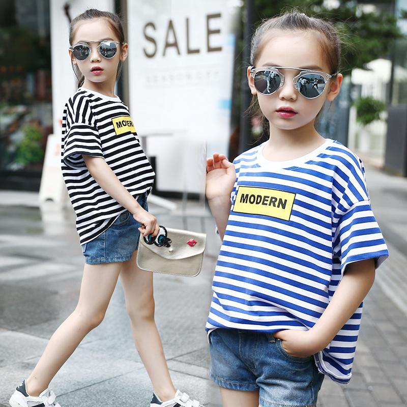 童装女童夏装短袖t恤条纹圆领蝙蝠衫儿童韩版上衣喇叭袖宽松体恤
