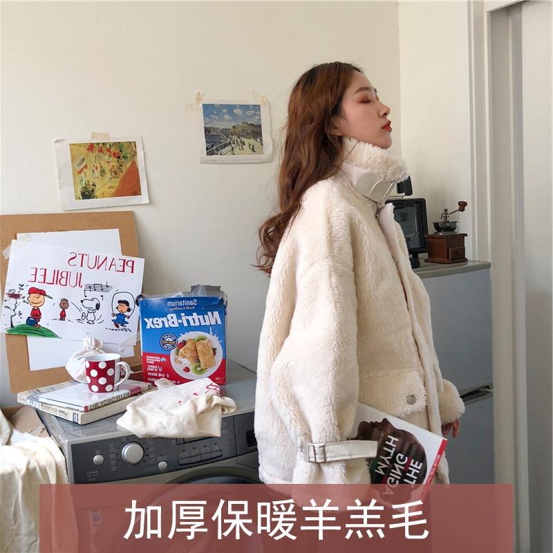 羊羔毛外套女韩版宽松皮毛一体2019新款冬季加厚毛毛羊羔绒机车服
