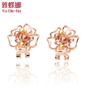 Ya na genuine elegant fashion Pearl Earring earring earring flower ladies Y169