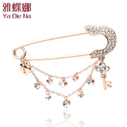 Ya na authentic Korea key tassel Rhinestone Pins fashion led luxury brooch shawl chain bzb09