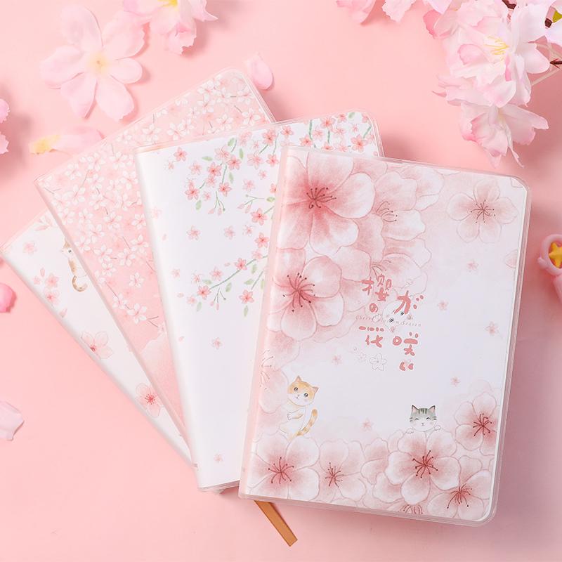 优湃创意萌宠樱花猫咪胶套本随身小本子彩页本大号号笔记本记事本
