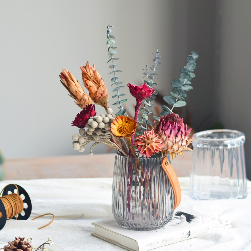 进口干花花束北欧风带花瓶套装霸王花班克木尤加利叶餐桌装饰花