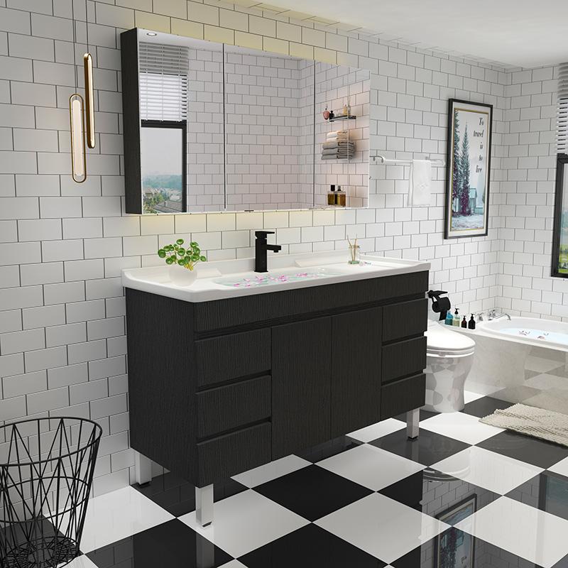 简约实木浴室柜挂墙式卫生间洗漱台卫浴柜洗手洗脸盆柜组合落地柜