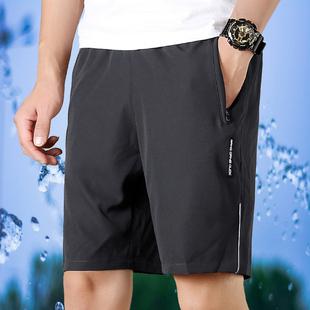 运动短裤薄款速干透气夏季休闲篮球宽松紧大码跑步五分沙滩裤子男