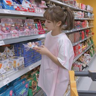 宋黛港味短袖韩系chic上衣宽松大bf风可爱粉色ins超火的同款t恤女