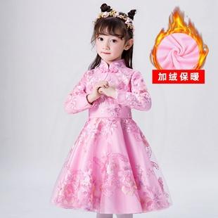 女童连衣裙春装2019新款冬季加绒超洋气韩版公主裙冬装儿童冬裙子