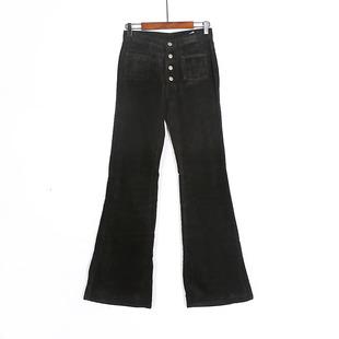 春秋季女装长裤修身显瘦喇叭裤灯芯绒长裤时尚条绒复古时尚喇叭裤