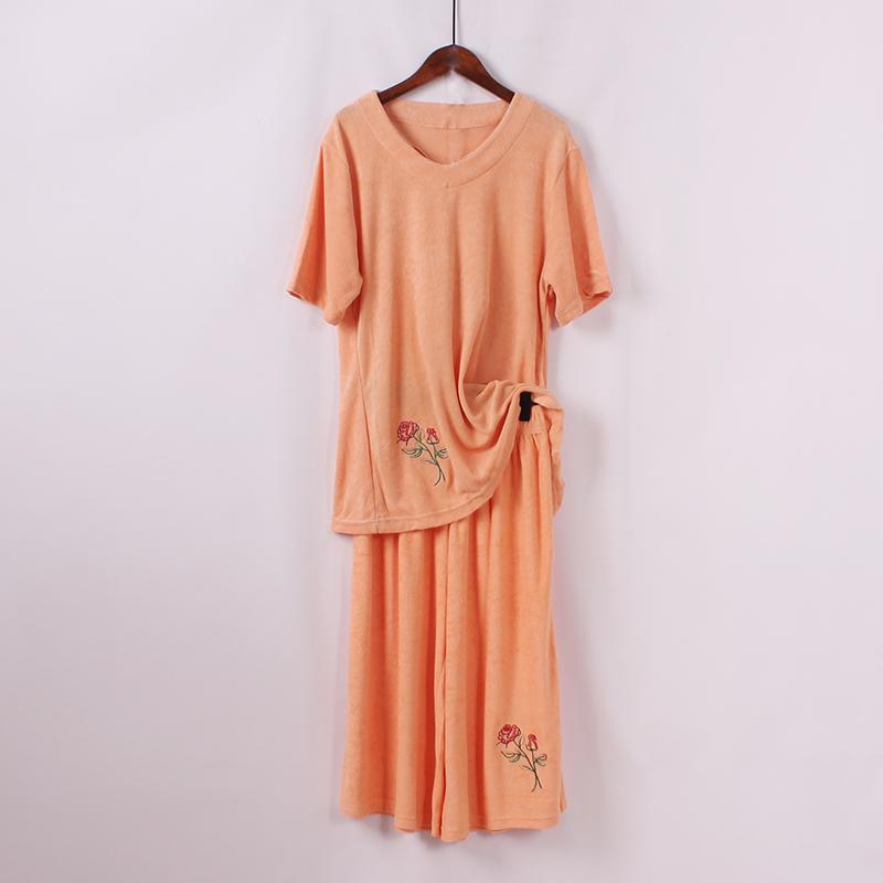 宽松大码短袖上衣+七分阔腿裤两件套夏季新品时尚休闲运动套装女
