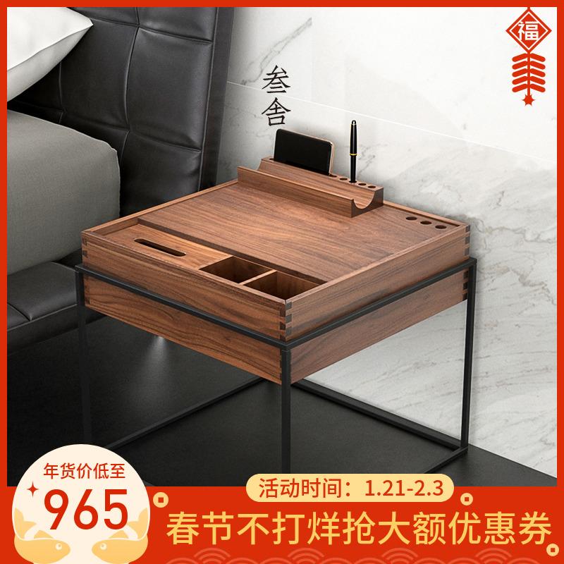 [¥879]叁舍北欧INS床头柜黑胡桃实木现代简约工业风铁艺设计师创意边柜