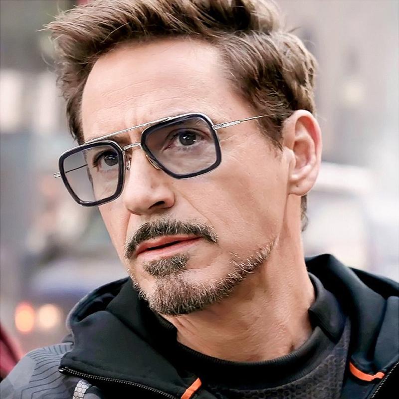 太阳镜男钢铁侠眼镜科幻复联4唐尼同款智能感光变色偏光墨镜自动