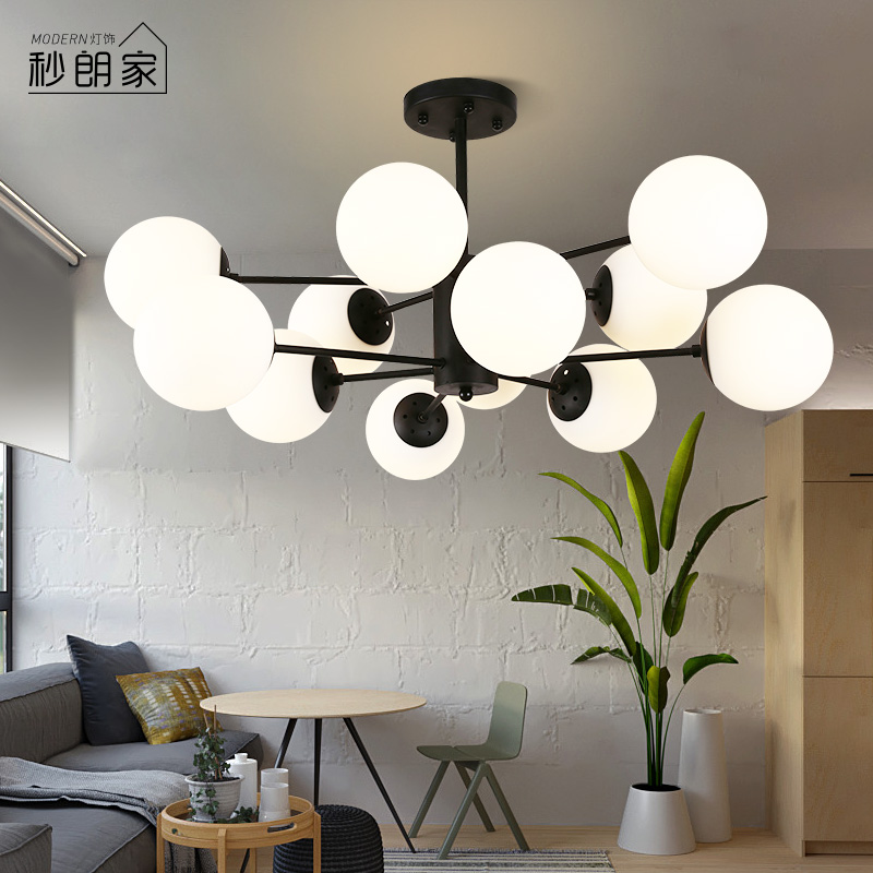 北欧后现代简约魔豆玻璃球吊灯个性创意美式客厅吊灯餐厅卧室灯具-秒朗家灯饰