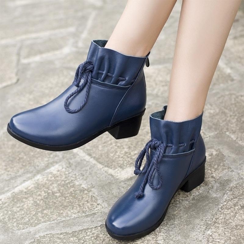 百搭冬鞋中跟保暖靴子真皮短靴女粗跟加绒棉皮鞋圆头大码棉鞋女鞋