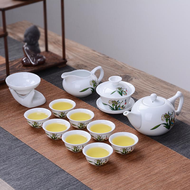 茶具套装特价陶瓷功夫茶具茶壶白瓷盖碗茶杯整套青花瓷泡茶器家用
