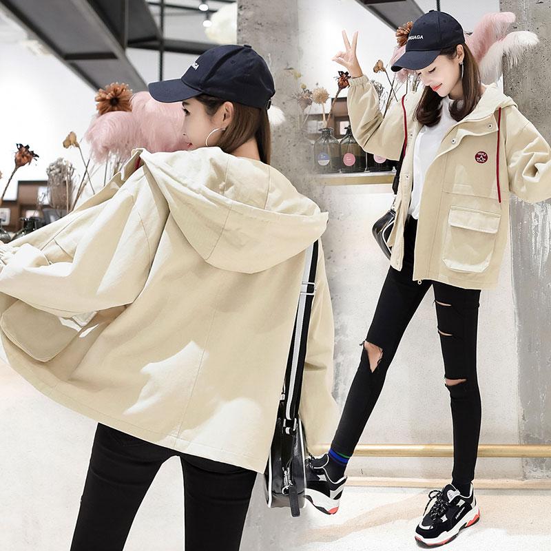 实拍 韩版bf连帽工装外套学生宽松夹克潮-玛丽网络服饰-
