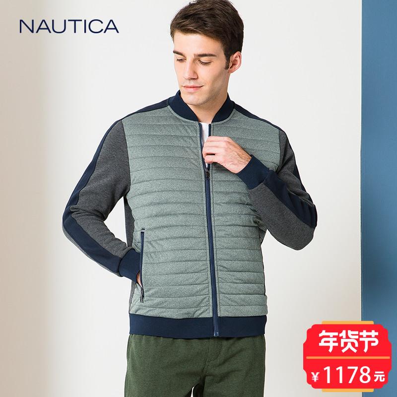 nautica/诺帝卡2017秋冬新品针织夹克男士拼接棉服外套NA002402