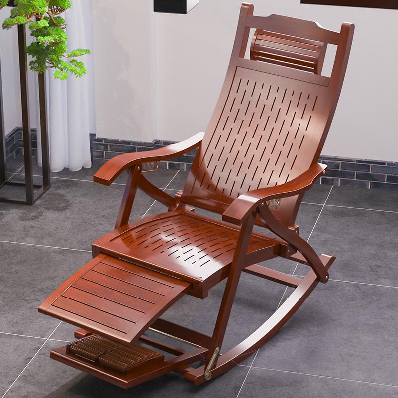 摇椅躺椅阳台家用休闲大人老人实木摇摇椅午睡午休懒人竹椅逍遥椅