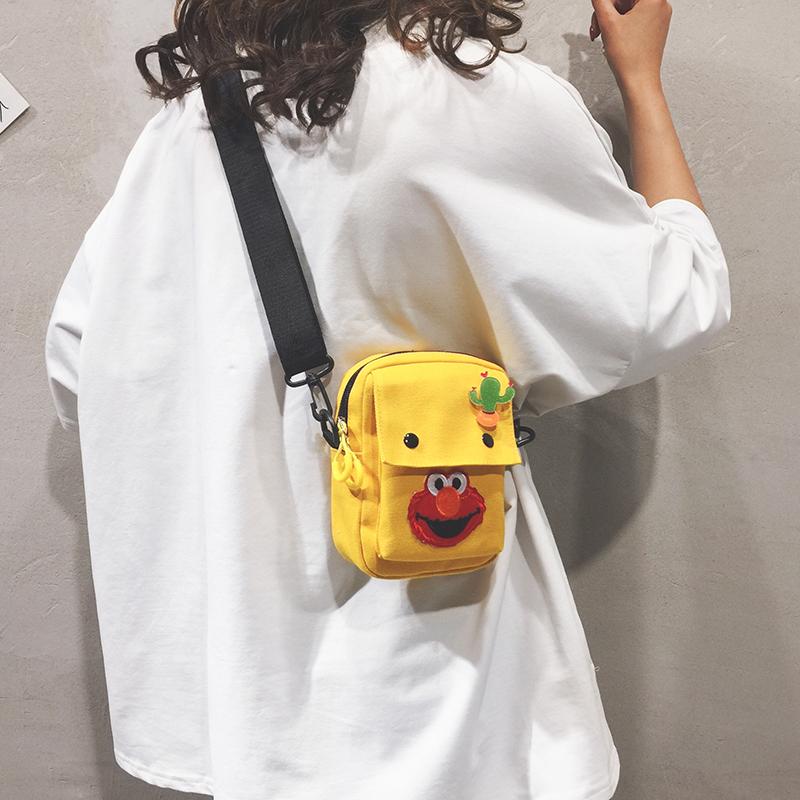 帆布斜挎包女百搭ins夏天小包包女2019新款可爱单肩小方包手机包