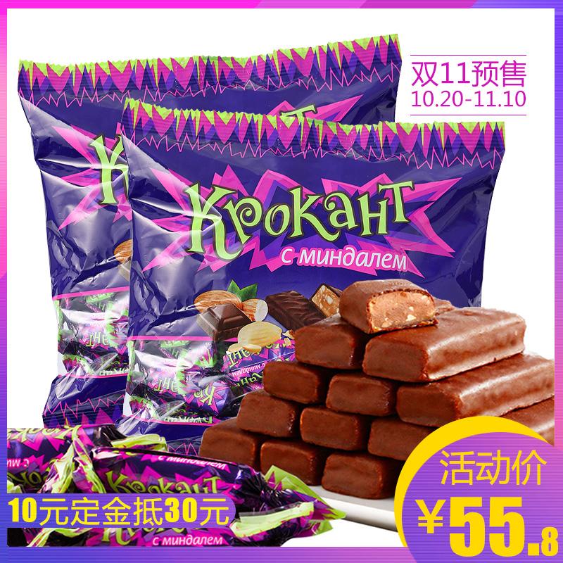 俄罗斯进口 紫皮糖KDV牌碎扁桃仁夹心巧克力500g*2袋酥糖果喜糖