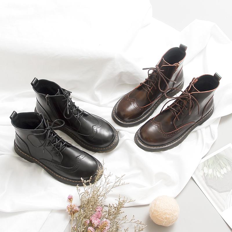 伯爵猫女鞋2019新款春季马丁靴女英伦风布洛克学院真皮短筒短靴子优惠券