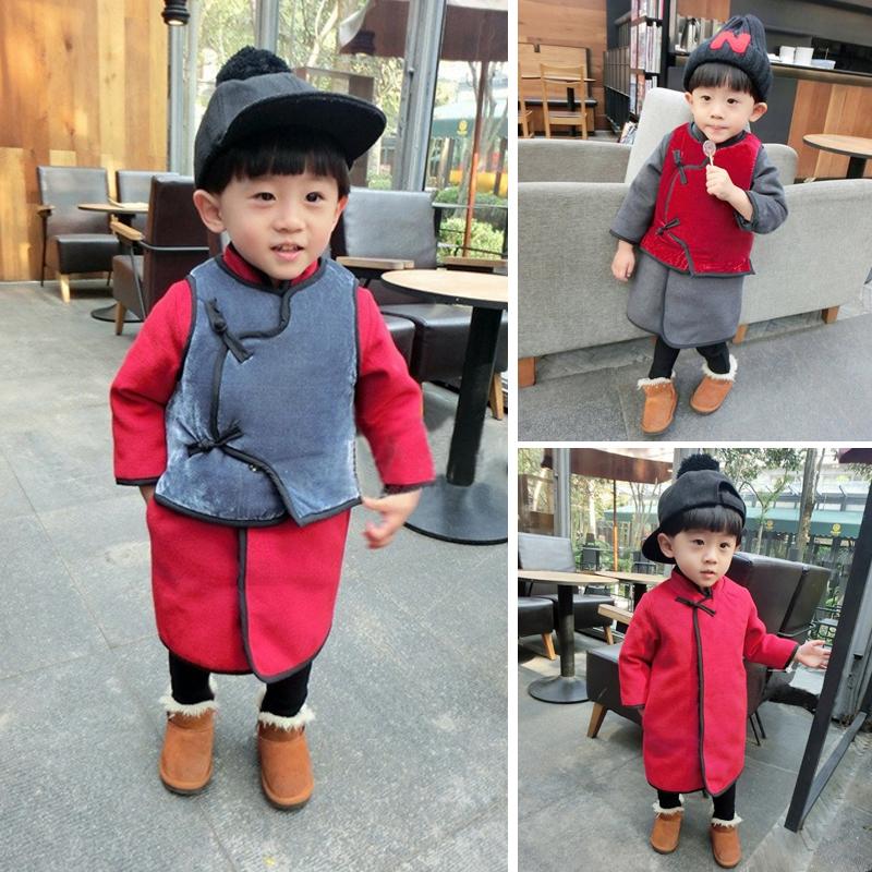 儿童加厚马甲男童女童唐装棉袄套装婴儿宝宝1234岁长袍拜年服冬装
